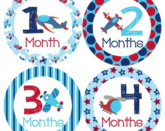 Airplanes Monthly Onesie Stickers