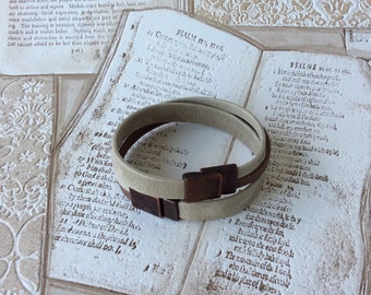 Leather bracelet of two parts