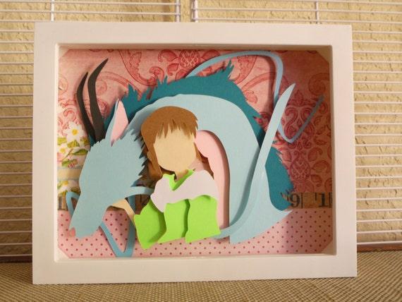 Chihiro And Dragon Haku Layered Paper Cut Art Piece