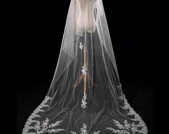 High quality Cathedral veil Long wedding veil Ivory  Bridal veil white Long Veil 1 tier off white veil in vintage 3meter Customize veil