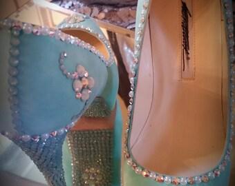 crystallized Swarovski ,strassed high heels size 6
