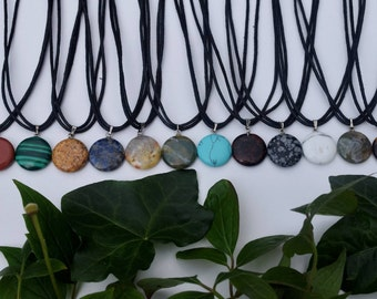 Adjustable varied colour circle stone pendant choker necklace with cotton cord