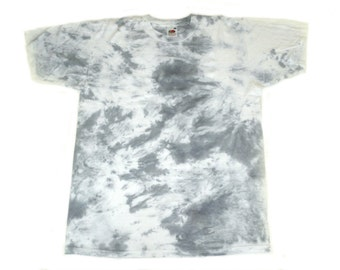 Hand Tie Dyed TShirt, Pale Blue and White. 100% Cotton