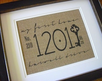 My First Home, Address Plaque, Burlap Housewarming, Address Sign, Burlap Prints Personalized Address Sign, First House