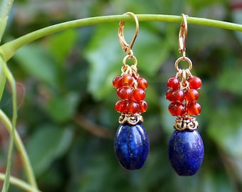 Multi Gemstone Dangle Earrings.Metal plated in 24K Gold.Cluster.Statement.Drop.Cluster.Bridal.Mother's.Gift.Holiday.Birthday.Handmade.