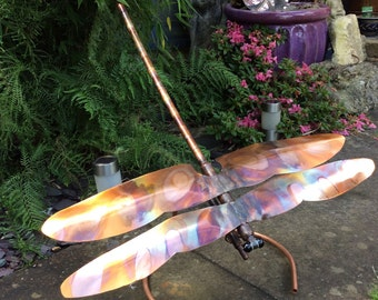 Large Copper Dragonfly Garden Ornament