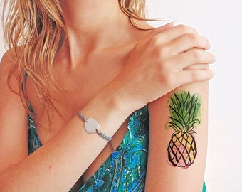Pineapple watercolor - Temporary tattoo