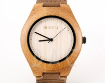 Wooden Watch for Men or Women - Leather watch - Personalized - Unique Custom Handmade - Wedding Groomsmen Gift - Personalize - Birthday