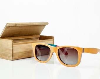 Custom Wayfarer Wooden Skateboard Sunglasses - Polarized Bamboo Wood - Personalized sunglasses - women mens sunglasses - Groomsmen gift