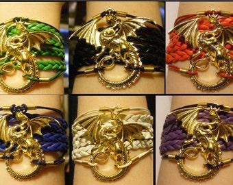 Dragon bracelet, dragon jewelry, leather dragon bracelet, leather dragon jewelry, fashion bracelet, fashion jewelry, dragon charm bracelet