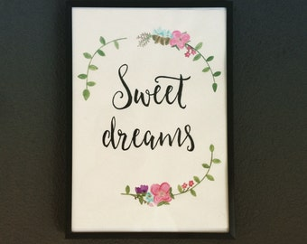 Poster Quote 'Sweet dreams' - handpainted watercolor