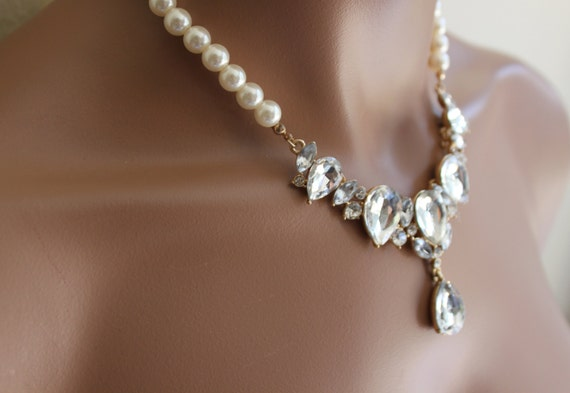Bridal Jewelry Set Ivory Pearl And Rhinestone Necklace With Earringwedding Jewelry Pearl Set