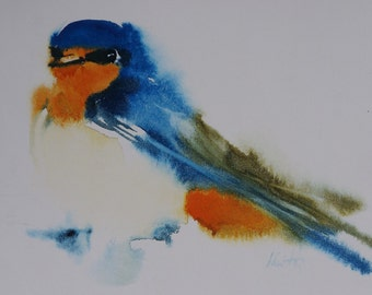 Postcard. Reproduction Watercolour bird swallow