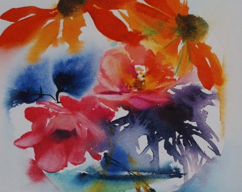 """Postcard. Reproduction Watercolour flowers """"flowers bubble"""" greeting card"""