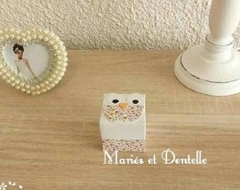 Favor box birth / baptism owl libery