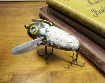 Vintage Wooden Fishing Lure - Heddon Crazy Crawler - Bullfrog