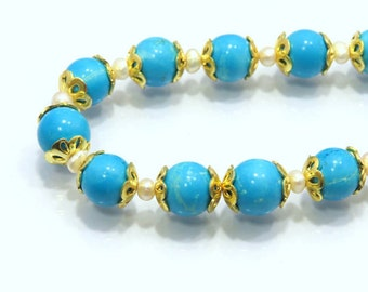 Blue Turquoise Plane Roundlle Beads With Metal and Pearl Designs AAA+++