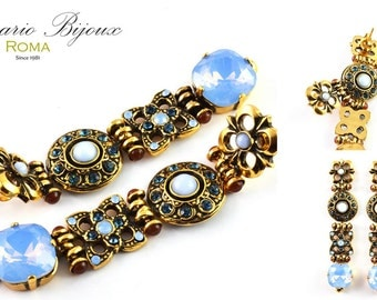 Gold earrings with cabochon and Swarovski crystals. -Sancesario Bijoux - code.art. OR-1016 A