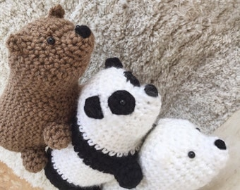 Crochet We Bare Bears Cartoon Network Amigurumi Grizzly Panda and Ice Bear Plush Dolls (set of 3)