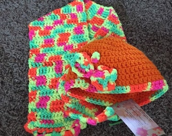 Crochet toddler hat and Scarf set. ready to go Today