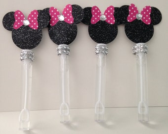 12 Minnie Mouse Bubble Wands, Bubble wands, Minnie Mouse Party favors Hot pink, Minnie Mouse inspired, Minnie Mouse decorations,.