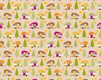"Riley Blake ""Happy Camper"" by Doodlebug Designs - Camper in Tan - 1.75  Yard Piece"