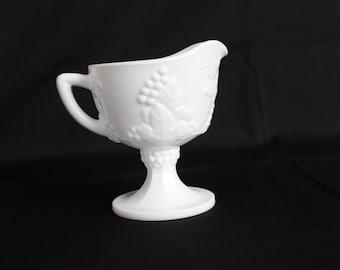 Vintage Milk Glass Creamer, Grapes and Leaves Design, Indiana Glass, Harvest Grape (D002)
