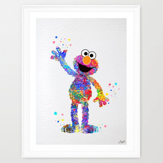 Elmo from sesame street watercolor art by kidsandhomes on etsy for Elmo wall mural