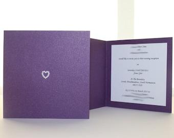 Cadburys Purple Square Wedding Invitation or Thank you card