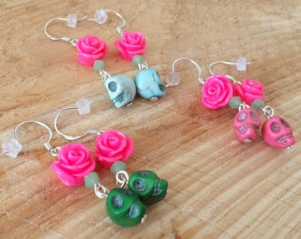 Skulls & Flowers earrings - Earrings with skulls and flowers