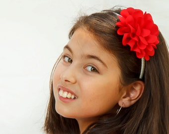 Red headband for girls - Baby and Girl flower headband - flower girl headband