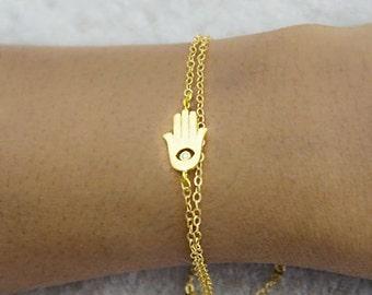 Gold hamsa bracelet, Tiny hamsa bracelet, hamsa gold bracelet, Rose gold hamsa bracelet, Hand of fatima bracelet, Hamsa Jewelry,