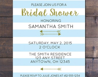 Blue Striped & Gold Bridal Shower Invitations