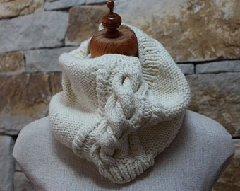 Cream Cable Hand Knitted Cowl