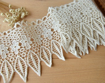 Beige Lace Trim Retro Embroidered Lace Trim Scalloped Lace 5.11 Inches Wide 2 Yards X0114