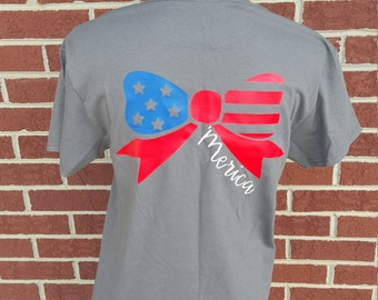 Monogrammed 'Merica Flag Tshirt, Merica Shirt Women, Patriotic Outfit, 4th of July Shirts, Fourth Of July Shirt, American Flag, America