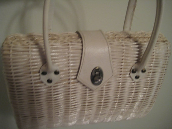 Classic and Functional White Wicker Bag from Japan