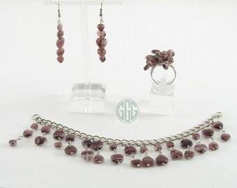 Bracelet, Earrings, And Ring Set - Amethyst & Silver (S001)