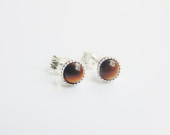 Tiny small 4mm yellow brown golden tigers eye gemstone stud earrings sterling silver earrings