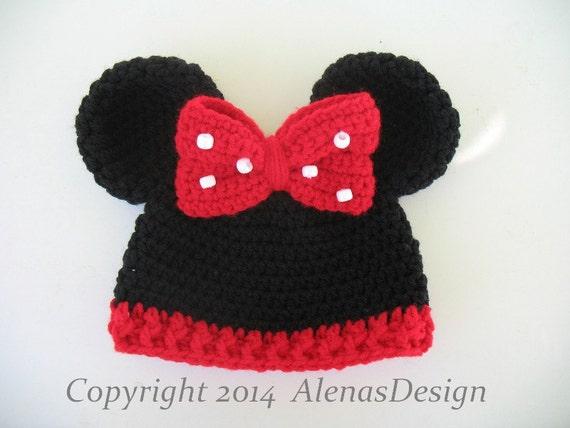 Minnie Mouse Crochet Hat Pattern Child : Crochet Hat Pattern 098 Baby Minnie Mouse Hat Mickey Mouse