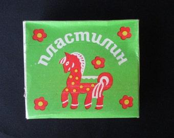 Soviet Vintage Plastilin - Modeling Clay, Set of 6 Plastilin Stick made in USSR, Soviet school, Old School, Vintage Soviet Modeling Clay