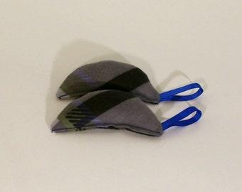 Organic Catnip Mouse Toy - Set of Two Cat Nip Mice - Gray Plaid