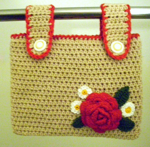 Walker Tote Crocheted with Red Rose