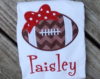 Football Shirt, Football Onesie, Girls Football shirt, Football Bow Shirt, Football Outfit