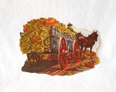 1960s Haywagon & Horse with Pumpkins Die Cut by Eureka