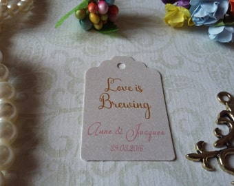 shimmer pearl tag Love is brewing tag - Love is brewing favors - Wedding favor tag - Wedding gift tag - Set of 25 to 300 pieces, Mini tag