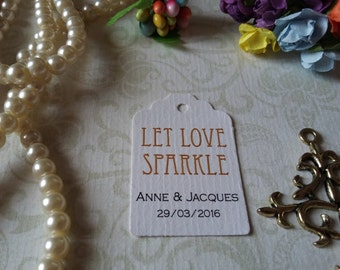 Sparkler tag - Let love sparkle tags - Sparkler send off tags - Wedding favor tag - Favor Mini tag - Wedding tag - Set of 25 to 300 pieces