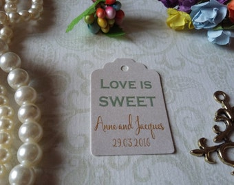 shimmer pearl tag Love is Sweet Gift Tags-Wedding Favors-Wedding Coffee Favors-Love is Sweet Tags-Set of 25 to 300 pieces Mini tag