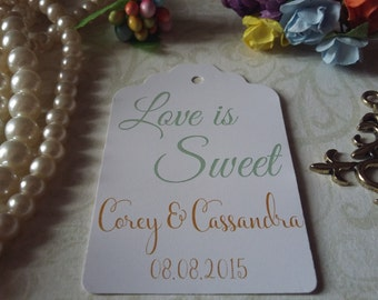 Love is Sweet Gift Tags-Wedding Favors-Bridal Shower favors-Wedding Coffee Favors-Love is Sweet Tags-Set of 25 to 300 pieces