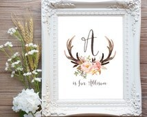 Antler Nursery Wall Art Printable Baby Name, Girl Tribal Woodland Baby Shower Decor, Deer Floral Personalized Gift